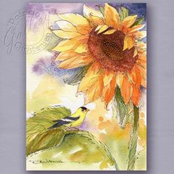 Art: Sunflower & Goldfinch: A Perfect Color Palette! - Sold by Artist Patricia  Lee Christensen
