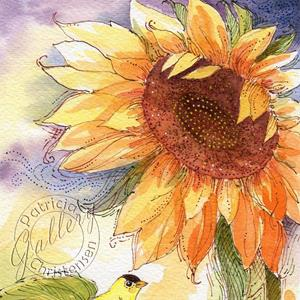 Detail Image for art Sunflower & Goldfinch: A Perfect Color Palette! - Sold