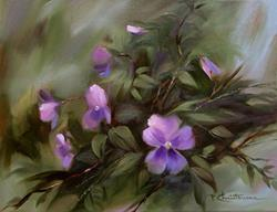 Art: Lavender Blue Pansies ~ Sold  by Artist Patricia  Lee Christensen