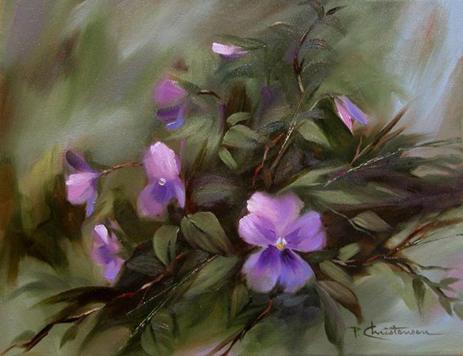 Art: Lavender Blue Pansies ~ Sold  by Artist Patricia  Lee Christensen