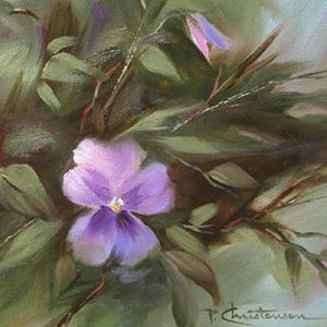 Detail Image for art Lavender Blue Pansies ~ Sold