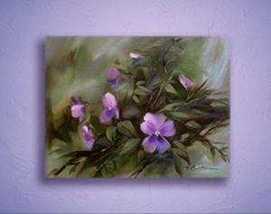 Detail Image for art Lavender Blue Pansies ~ Sold