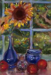 Art: Sunflower in Kitchen Window - Sold by Artist Patricia  Lee Christensen