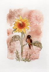 Art: A Robin & Sunflower by Artist Patricia  Lee Christensen