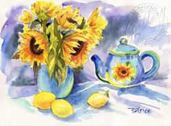 Art: Sunflower Tea Party with Lemons by Artist Patricia  Lee Christensen