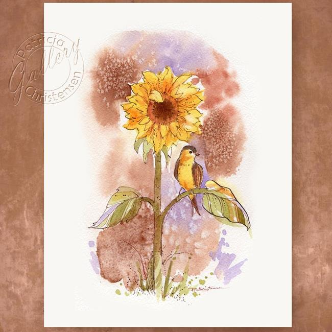 Art: Sunflower and Goldfinch by Artist Patricia  Lee Christensen