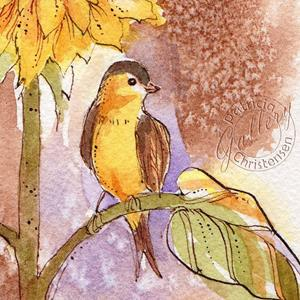 Detail Image for art Sunflower and Goldfinch