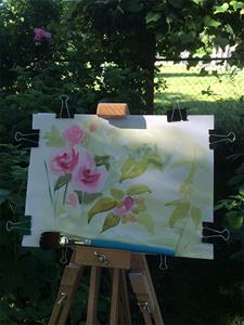 Detail Image for art EBSQ Garden Plein Air - Roses, Raspberries & Grapes
