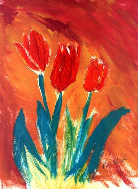 Art: Fire Tulips by Artist Kim Wyatt