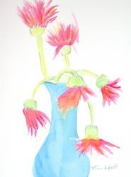 Art: Pink Daisys Dressed in Blue by Artist Kim Wyatt