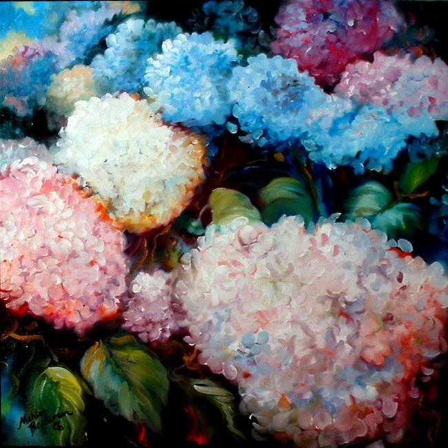 Art: RAINBOW HYDRANGEAS by Artist Marcia Baldwin