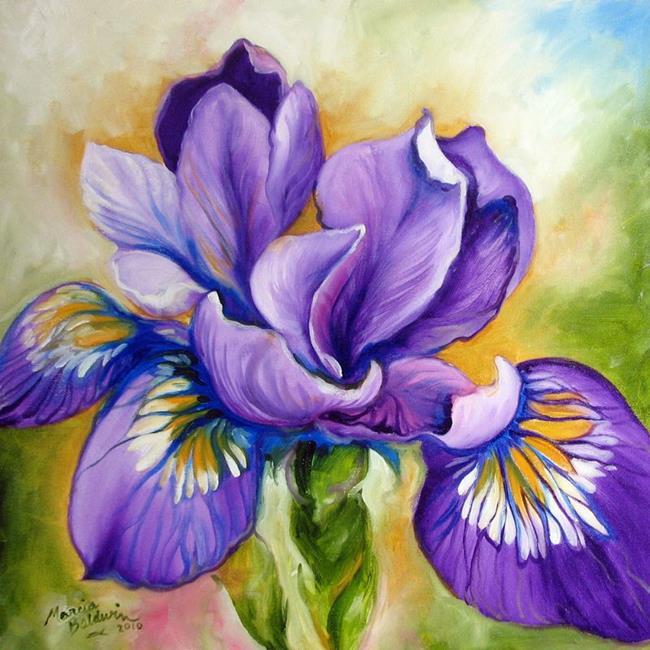 Art: PURPLE IRIS WILDFLOWER by Artist Marcia Baldwin