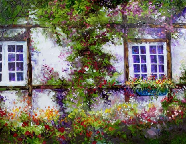 Art ENGLISH GARDEN COTTAGE By Artist Marcia Baldwin