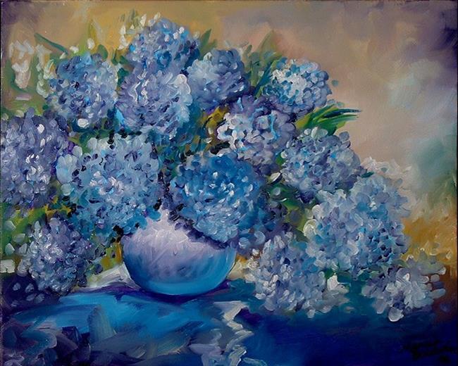 Art: BLUE HYDRANGEA by Artist Marcia Baldwin
