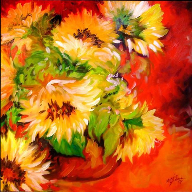Art: SUNFLOWERS in TUSCAN VASE by Artist Marcia Baldwin