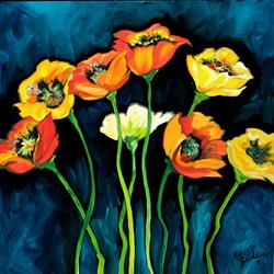 Art: EIGHT POPPIES by Artist Marcia Baldwin