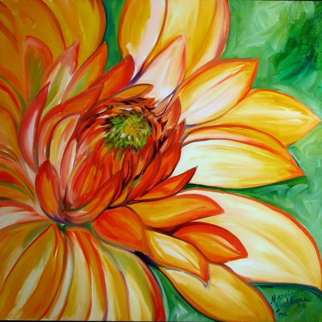Art: ORANGE DAHLIA by Artist Marcia Baldwin