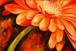 Art: Gerber Daisy Fire by Artist Marcia Baldwin