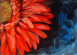 Art: Mini Gerber Red by Artist Marcia Baldwin