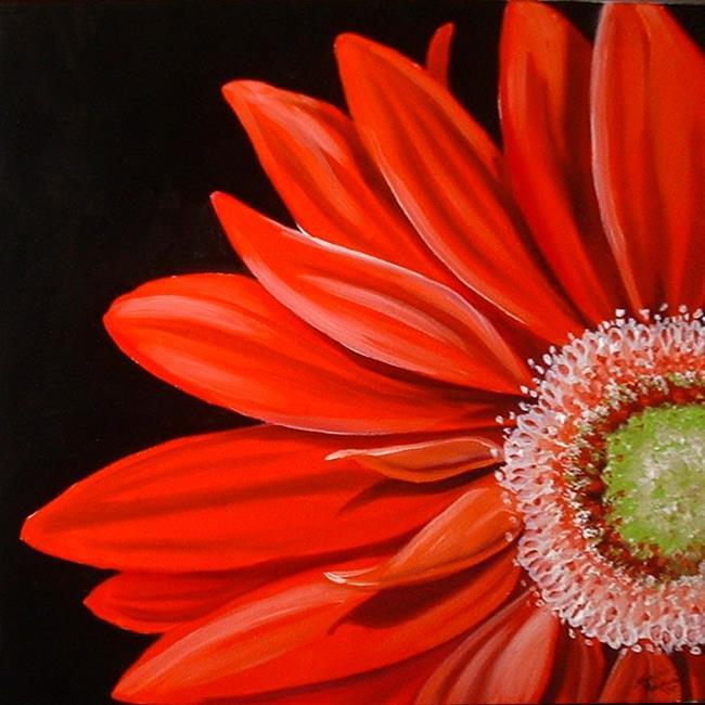 Art: RED GERBERA DAISY by Artist Marcia Baldwin