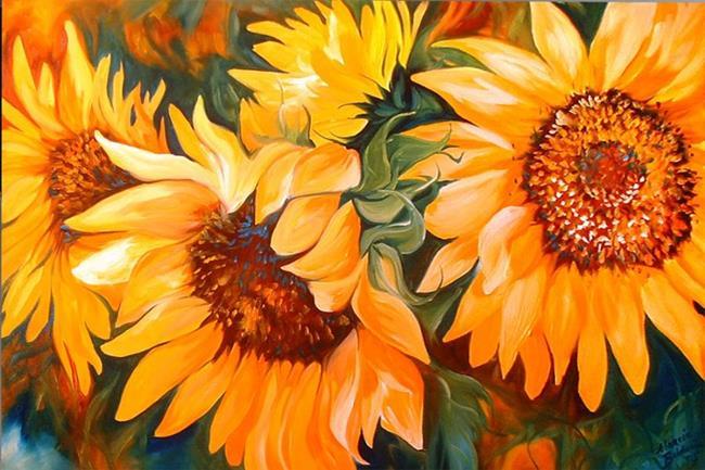 Art: THE SUNFLOWERS by Artist Marcia Baldwin