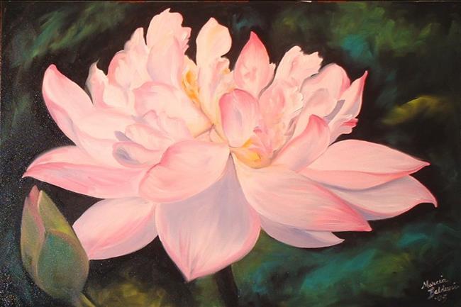 Art: Waterliy Blossom and Bud by Artist Marcia Baldwin