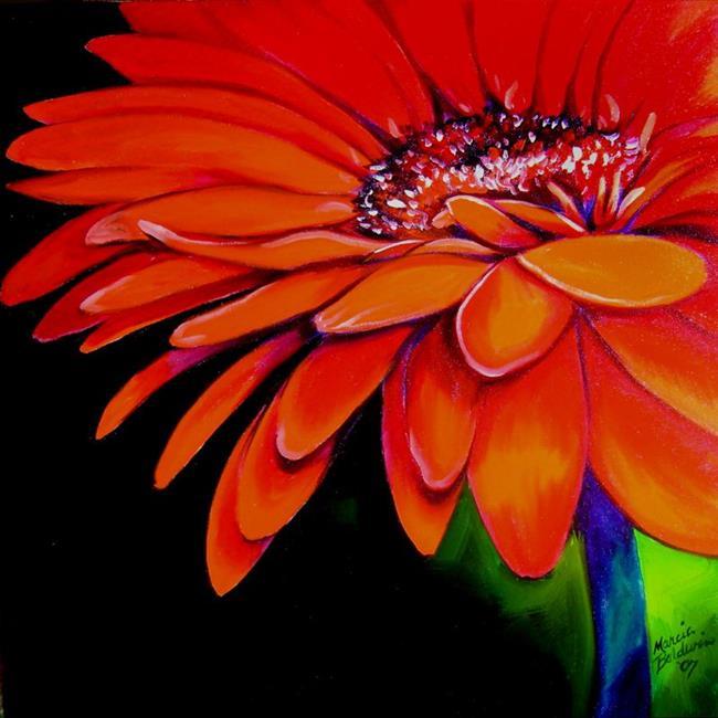 Art: RED GERBERA JANUARY by Artist Marcia Baldwin