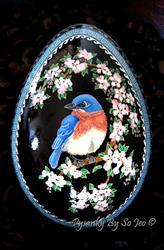 Art: Bluebird in Apple Tree by Artist So Jeo LeBlond