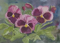 Art: Rose Pansies by Artist Carol Thompson