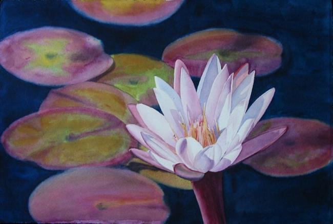 Art: Pink Water Lily by Artist Kathy Haney