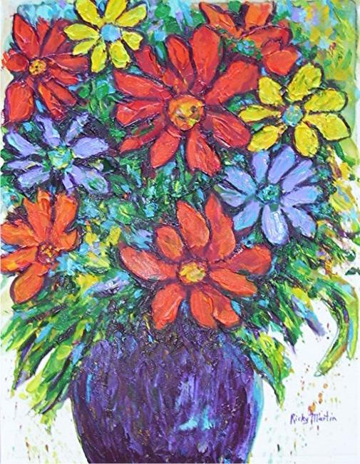 Art: Palette Knife worked Floral Bouquet by Artist Ulrike 'Ricky' Martin