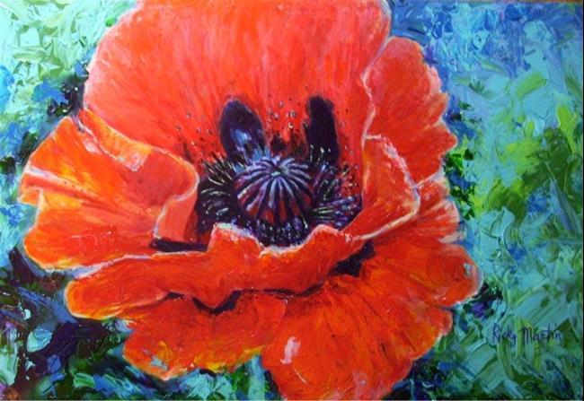 Art: Single Red Poppy by Artist Ulrike 'Ricky' Martin
