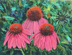 Art: Echinacea Abloom by Artist Ulrike 'Ricky' Martin