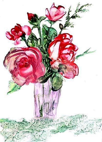 Art: Encaustic Roses by Artist Ulrike 'Ricky' Martin