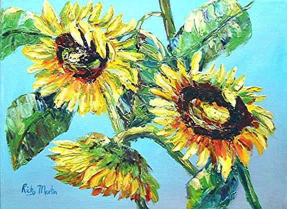 Art: Sunflowers ( sold ) by Artist Ulrike 'Ricky' Martin