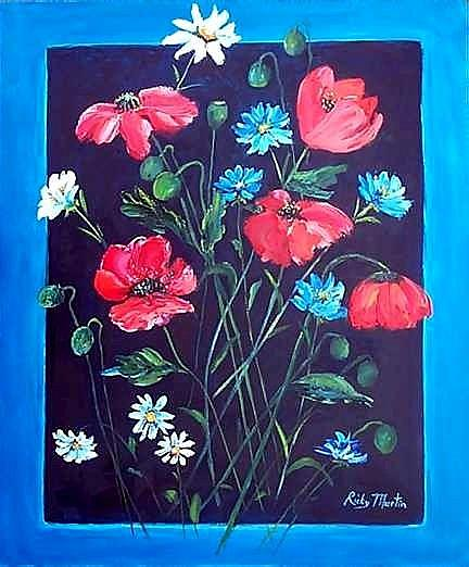Art: Poppies and Daisies  (sold) by Artist Ulrike 'Ricky' Martin