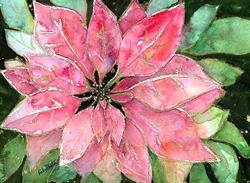Art: Festive Poinsettia  (sold) by Artist Ulrike 'Ricky' Martin