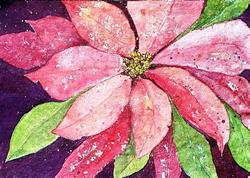 Art: Pink Poinsettia (sold) by Artist Ulrike 'Ricky' Martin