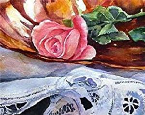 Detail Image for art Rose in a Copper Dish