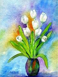 Art: White Tulips by Artist Ulrike 'Ricky' Martin