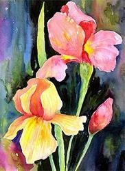 Art: Pink iris by Artist Ulrike 'Ricky' Martin