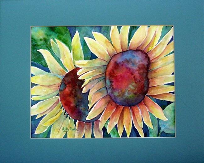 Art: Matted Sunflowers by Artist Ulrike 'Ricky' Martin
