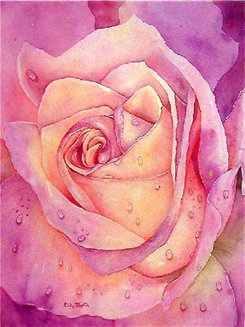 Art: Raindrops on a Pink Rose by Artist Ulrike 'Ricky' Martin