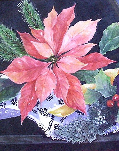 Art: Poinsettia on a Lace Cloth by Artist Ulrike 'Ricky' Martin