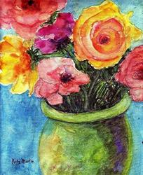 Art: Old fashioned Roses by Artist Ulrike 'Ricky' Martin
