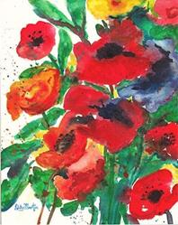 Art: Abstract Poppies - sold by Artist Ulrike 'Ricky' Martin