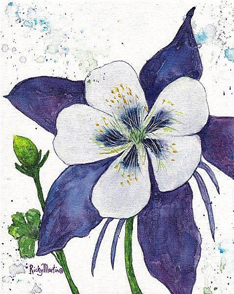 Art: Columbine - Colorado State Flower by Artist Ulrike 'Ricky' Martin