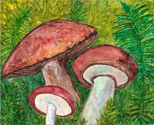 Art: Ferns and Mushrooms by Artist Ulrike 'Ricky' Martin