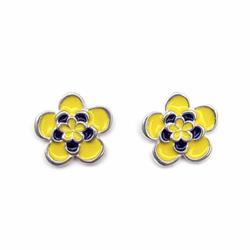Art: Large Yellow and Black Flower Studs by Artist Andree Chenier