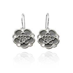 Art: Silver and Black Flower Earrings by Artist Andree Chenier